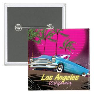 Los Angeles 1980s Retro Travel print Button