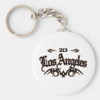 Los Angeles 213 Basic Round Button Keychain