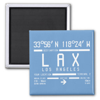 Los Angeles Airport Code 2 Inch Square Magnet