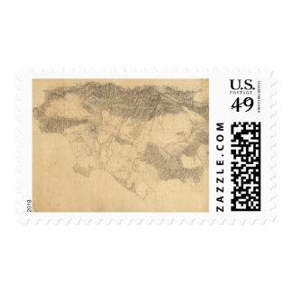 Los Angeles and San Bernardino Topography Postage Stamp