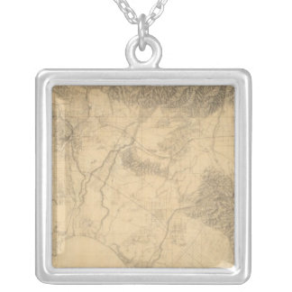 Los Angeles and San Bernardino Topography Silver Plated Necklace