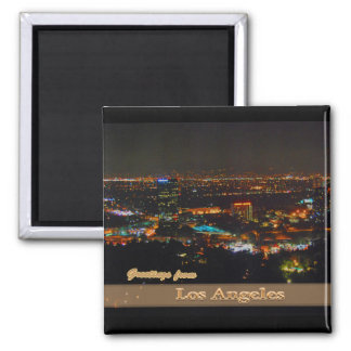 Los Angeles At Night From Mulholland Drive 2 Inch Square Magnet