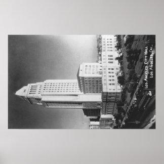 Los Ángeles, ayuntamiento CA y opinión de la ciuda Póster