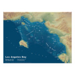 """Los Angeles Bay--Sea Rise Map, 24""""x18"""" Poster"""