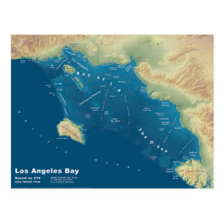 Los Angeles Bay--Sea Rise Map Postcard