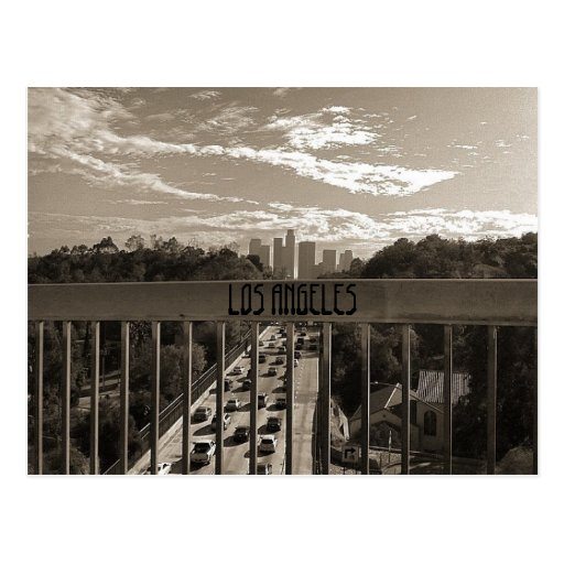 Los angeles black white postcard zazzle for T shirt printing downtown los angeles