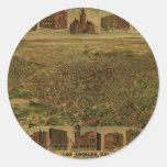 Los Ángeles CA 1891 Pegatina Redonda