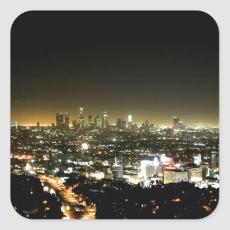 Los Angeles, CA Beautiful Nighttime Square Sticker