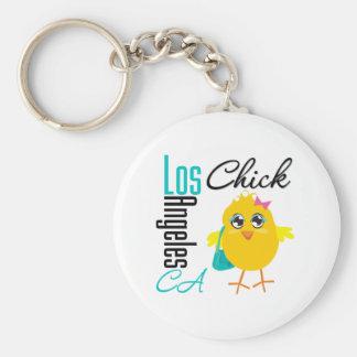 Los Ángeles CA Chick-2 Llavero Redondo Tipo Pin