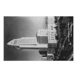 Los Angeles, CA City Hall and Town View Poster