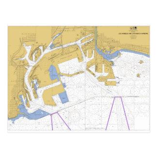 Los Angeles, CA Nautical Harbor Chart Postcard