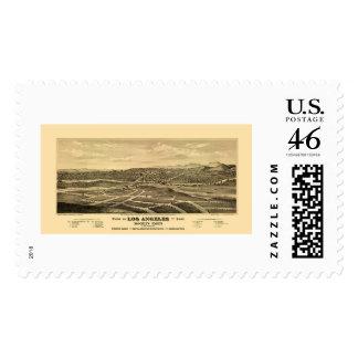 Los Angeles, CA Panoramic Map - 1877 Postage