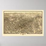 Los Angeles, CA Panoramic Map - 1909 Poster