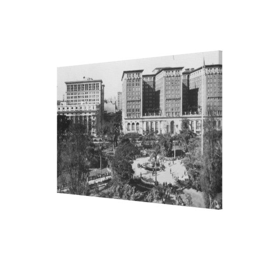 Los Angeles, CA Perishing Square and Biltmore Canvas Print