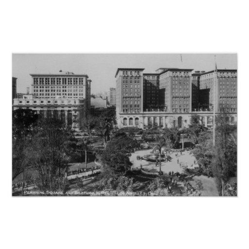 Los Angeles, CA Perishing Square and Biltmore Print