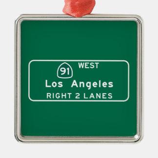 Los Angeles, CA Road Sign Metal Ornament