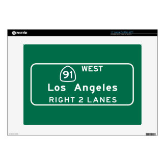 """Los Angeles, CA Road Sign Skin For 15"""" Laptop"""