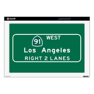 "Los Angeles, CA Road Sign 17"" Laptop Decals"