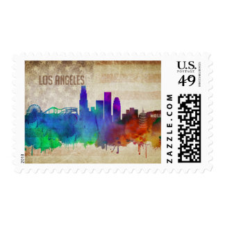 Los Angeles, CA | Watercolor City Skyline Postage