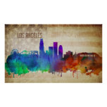 Los Angeles, CA | Watercolor City Skyline Poster