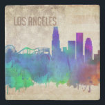 "Los Angeles, CA | Watercolor City Skyline Stone Coaster<br><div class=""desc"">A neon watercolor outline of the Los Angeles city skyline with a distressed American flag backdrop.</div>"