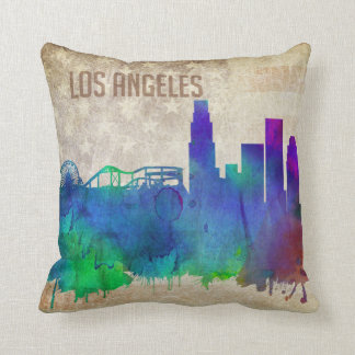 Los Angeles, CA | Watercolor City Skyline Throw Pillow