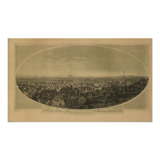Los Angeles  California 1888 Antique Panoramic Map Poster