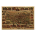 Los Angeles California 1891 Antique Panoramic Map Poster