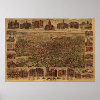 Los Angeles California 1891 Antique Panoramic Map Poster