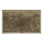 Los Angeles California 1909 Antique Panoramic Map Poster