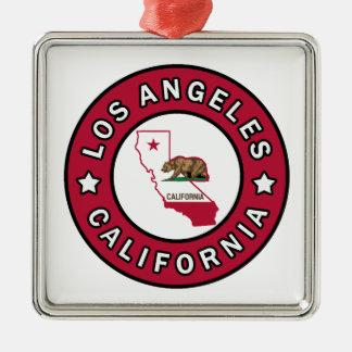 Los Ángeles California Adorno Navideño Cuadrado De Metal