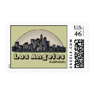 Los Angeles California artistic skyline stamps