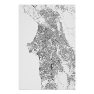 Los Angeles, California (black on white, rotated) Poster