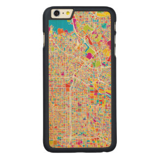 Los Angeles, California   Colorful Map Carved Maple iPhone 6 Plus Slim Case