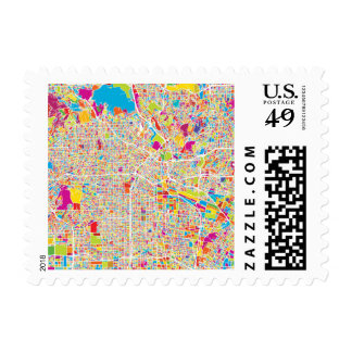 Los Angeles, California | Colorful Map Postage