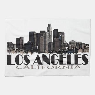 Los Angeles California dark skyline Hand Towels