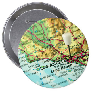 Los Angeles, California Map Pinback Button