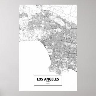 Los Ángeles, California (negro en blanco) Póster