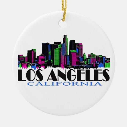 Los Angeles California neon skyline Ceramic Ornament