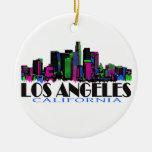 Los Angeles California neon skyline Double-Sided Ceramic Round Christmas Ornament
