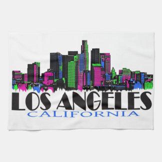 Los Angeles California neon skyline Hand Towel
