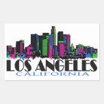 Los Angeles California neon skyline Rectangular Sticker