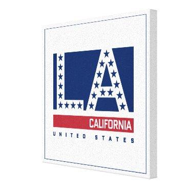 USA Themed Los Angeles, California | Red,White & Blue Skyline Canvas Print