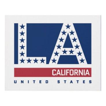 USA Themed Los Angeles, California | Red,White & Blue Skyline Panel Wall Art