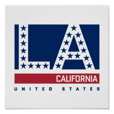 USA Themed Los Angeles, California | Red,White & Blue Skyline Poster