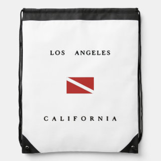 Los Angeles California Scuba Dive Flag Drawstring Backpack