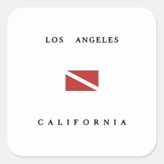 Los Angeles California Scuba Dive Flag Square Sticker