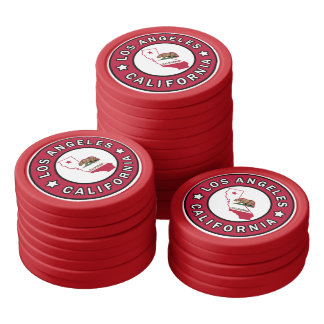 Los Angeles California Set Of Poker Chips