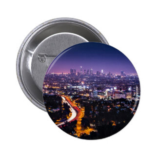 Los Angeles, California Skyline at night Pinback Buttons