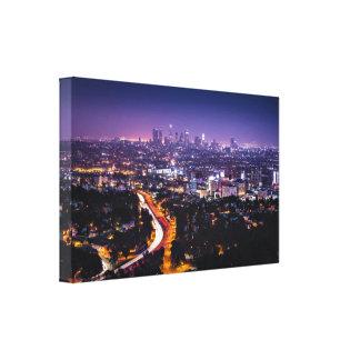 Los Angeles, California Skyline at night Canvas Prints